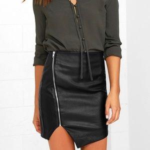 Black vegan leather asymmetrical skirt